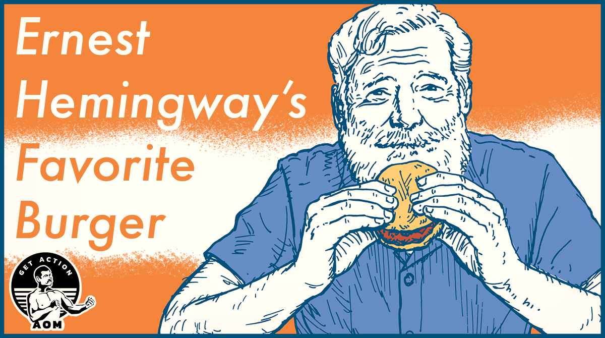 Ernest Hemingway illustration eating hamburger.