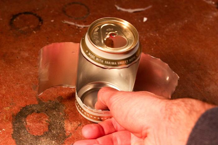 Step 3: Flatten bottom of can.