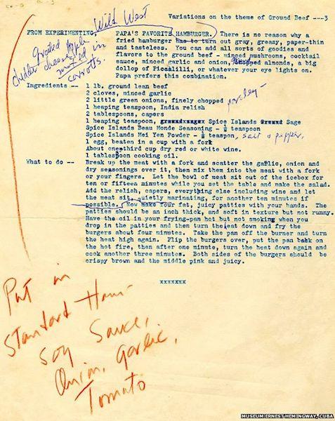 Ernest Hemingway hamburger recipe.