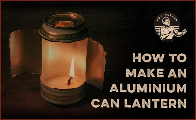 DIY soda can lantern with bacon fat candle.