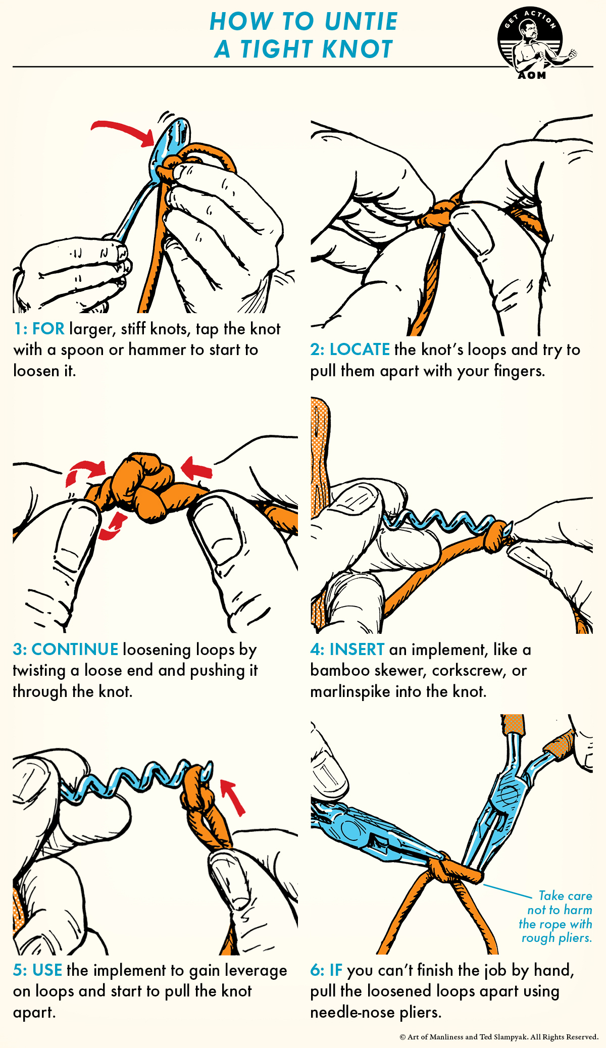 Six basic steps to untie a tight knot.