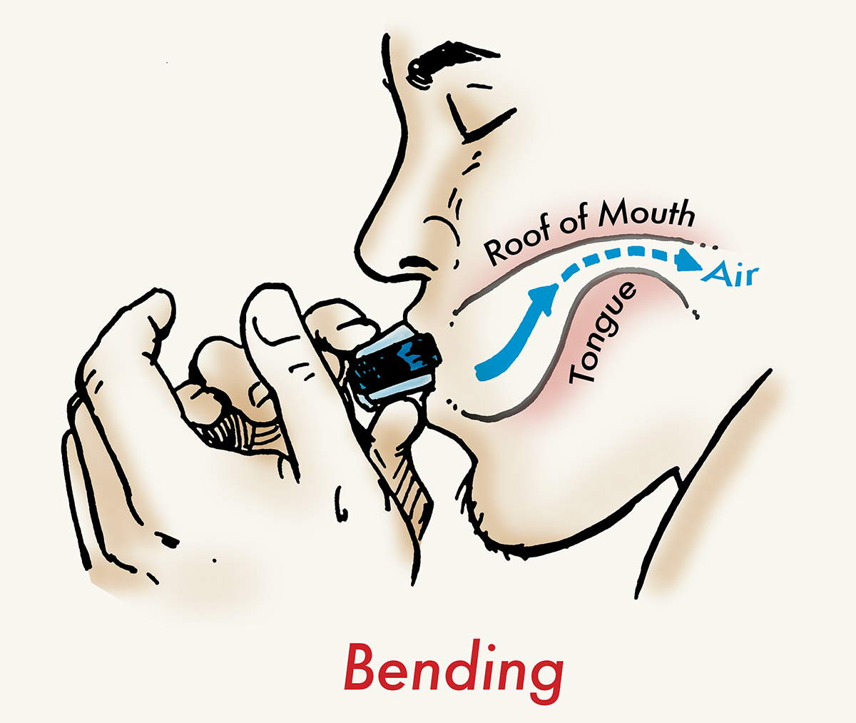 Illustration of elevating tongue in mouth to constrict the airflow of the harmonica.