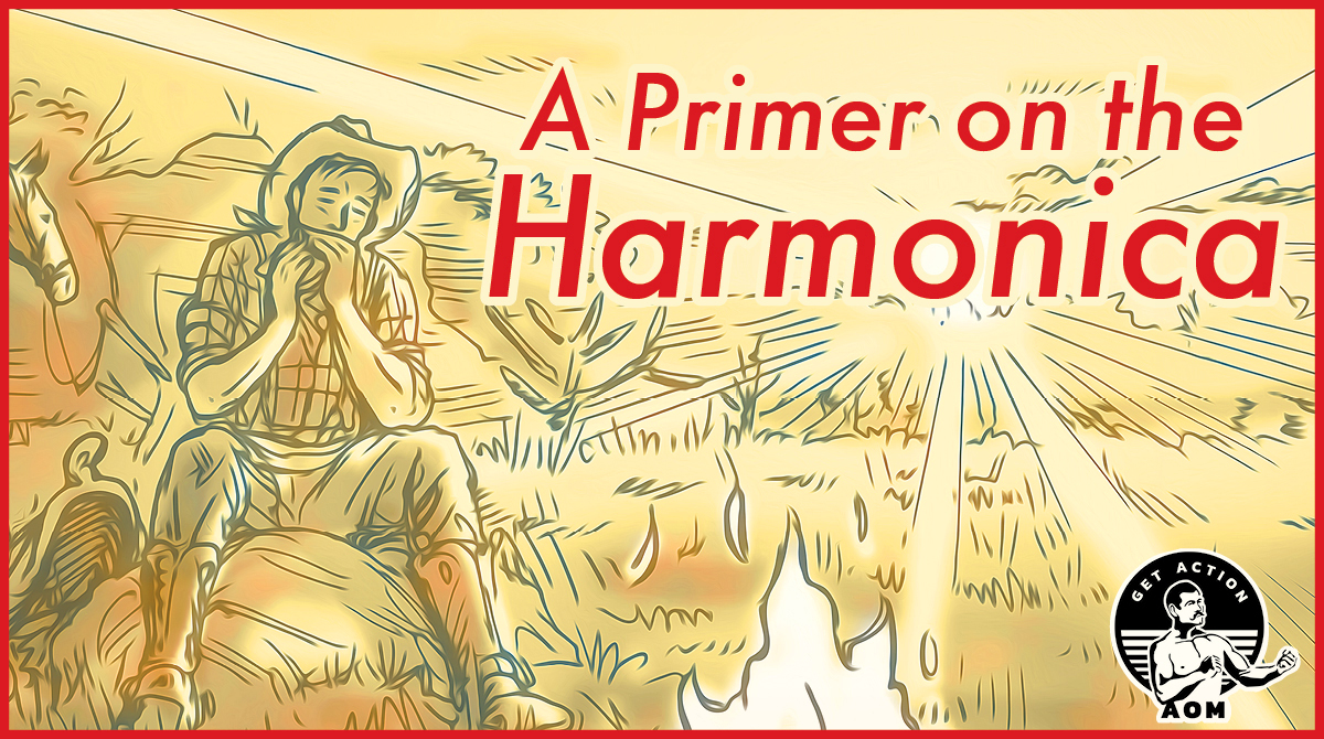 Cowboy playing harmonica around campfire illustration.