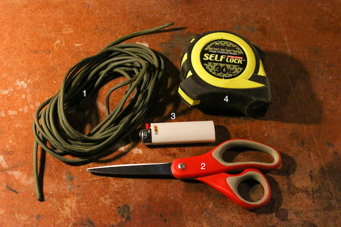 A paracord,measurement tape,scissor and a lighter.