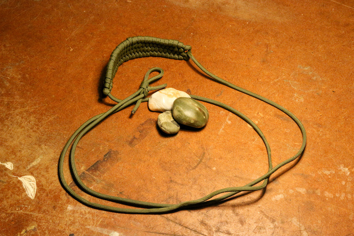 A rock sling and stones.