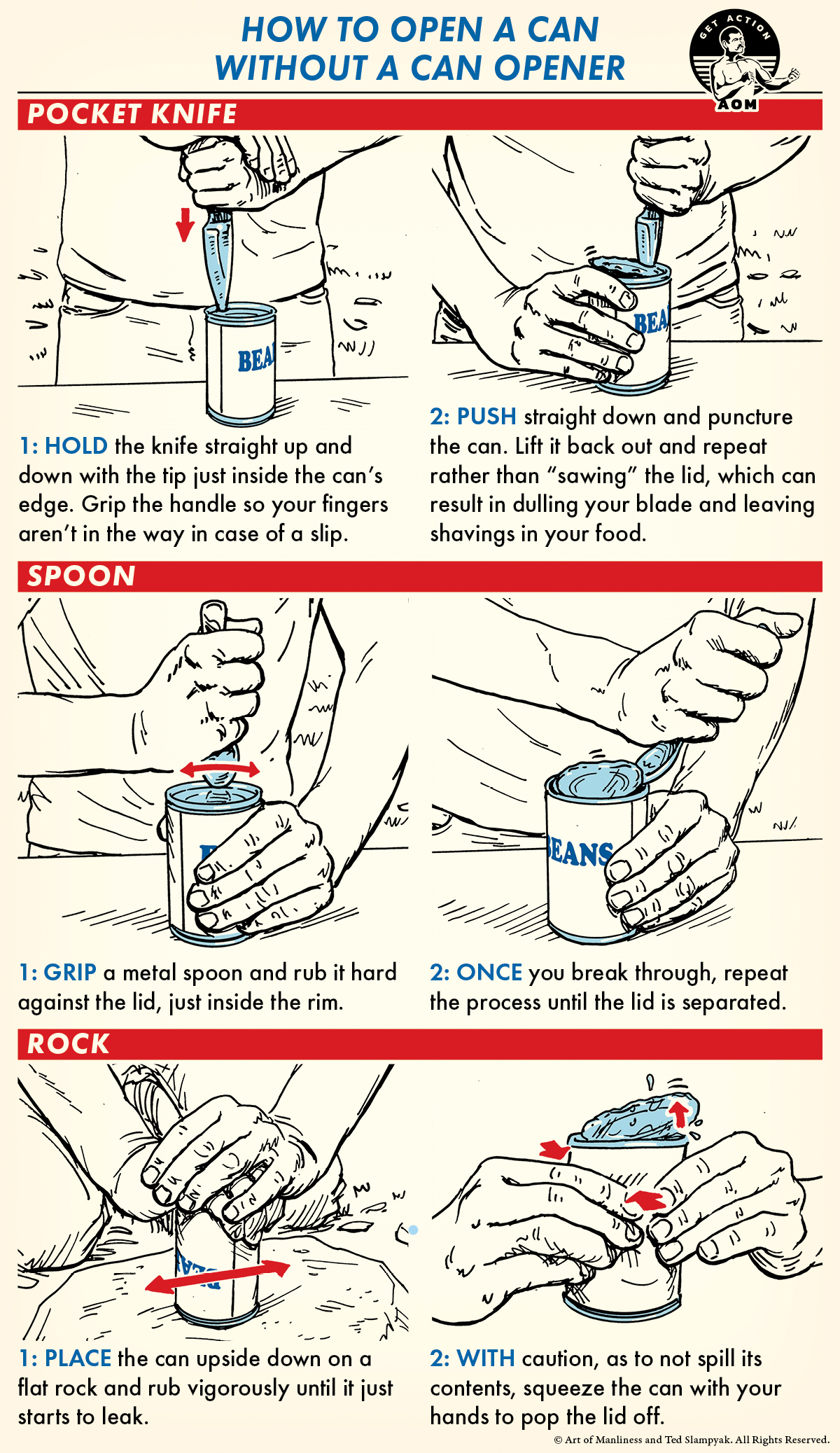 Open a can without an opener illustration.