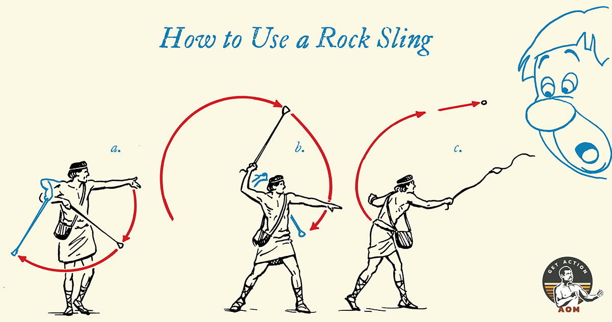 A comic of how to use rock sling.