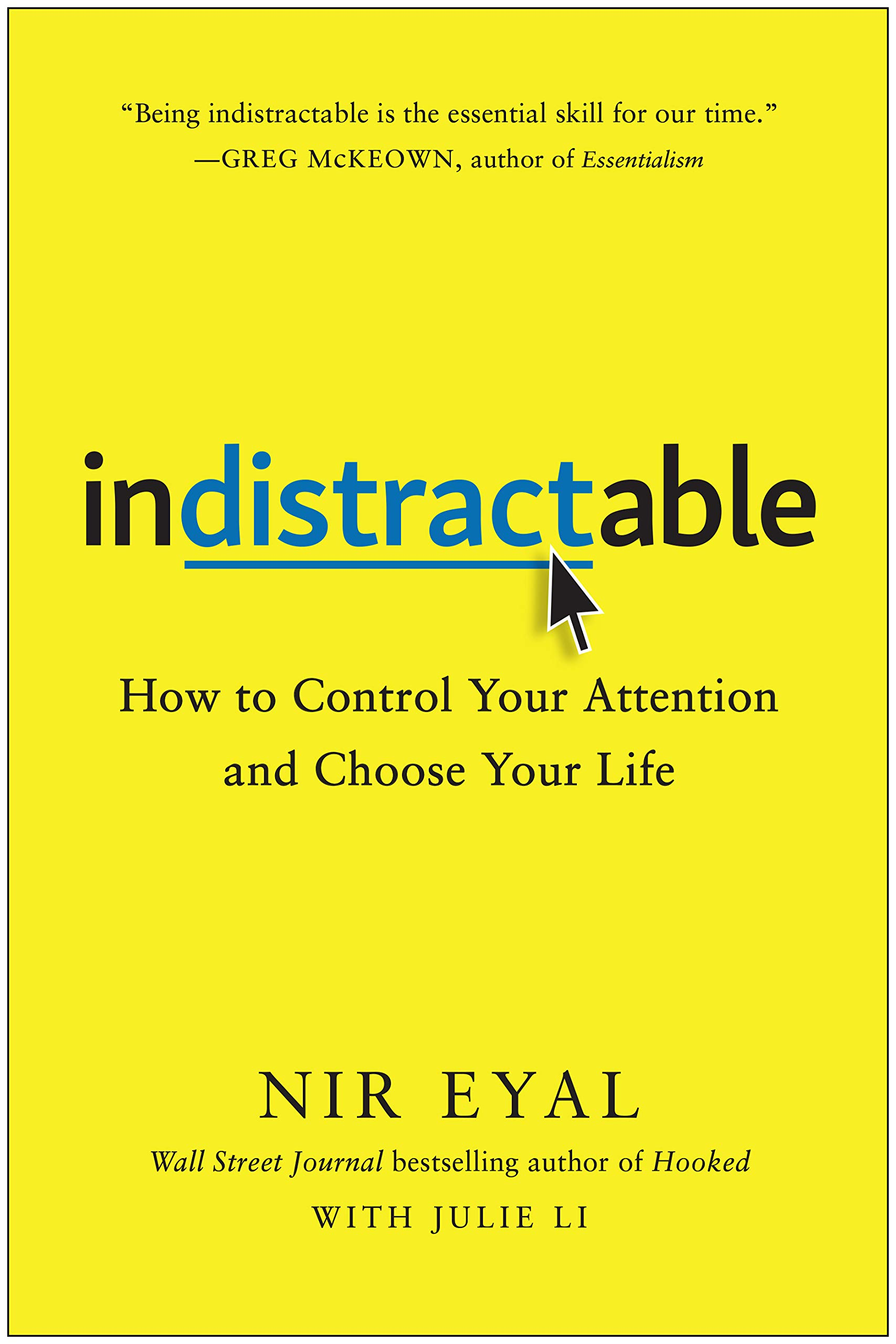 """Indistractable"" book cover by Nir Eyal."
