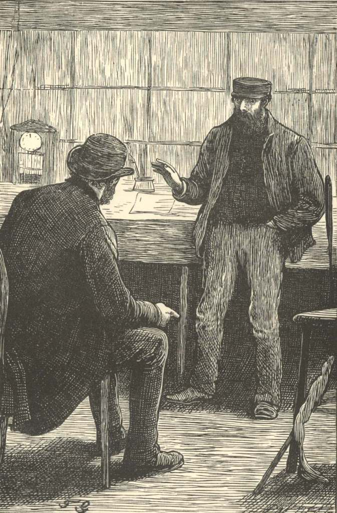 A man telling the story in a Charles Dickens book.