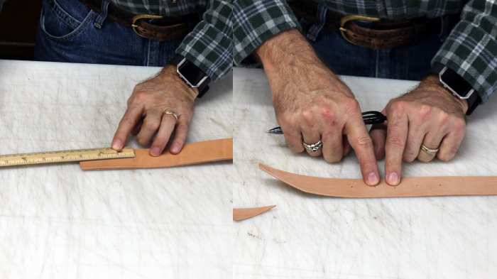 Measuring leather strip by scale and pen.