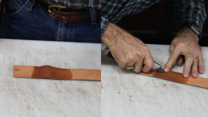 Cutting the soaked portion of leather with blade.