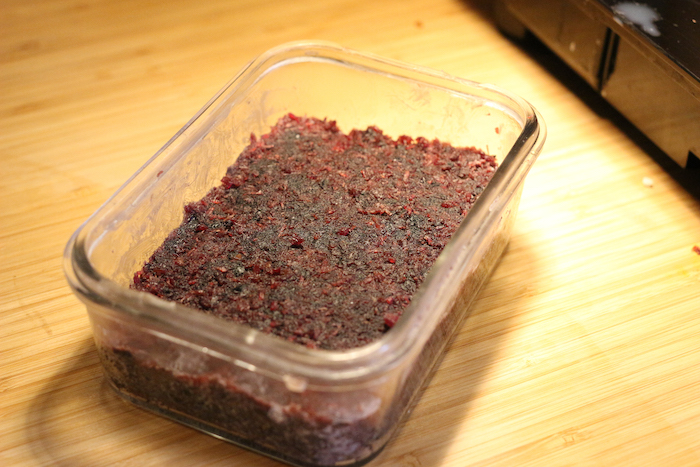 Packed and Cooled Pemmican in a box.