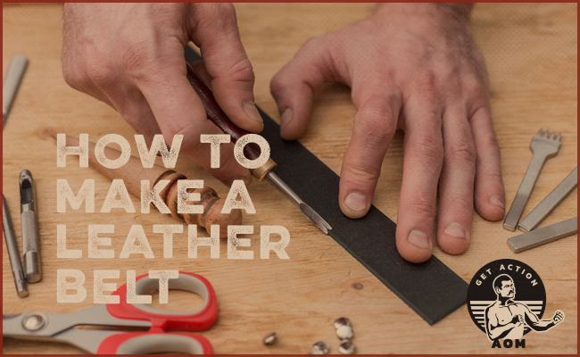 Making a leather belt.