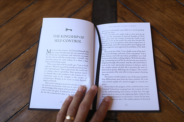 """A Chapter name """" The Kingship of Self-control"""" of """"The Secrets to Power, Mastery and Truth"""" by William George Jordan is shown."""