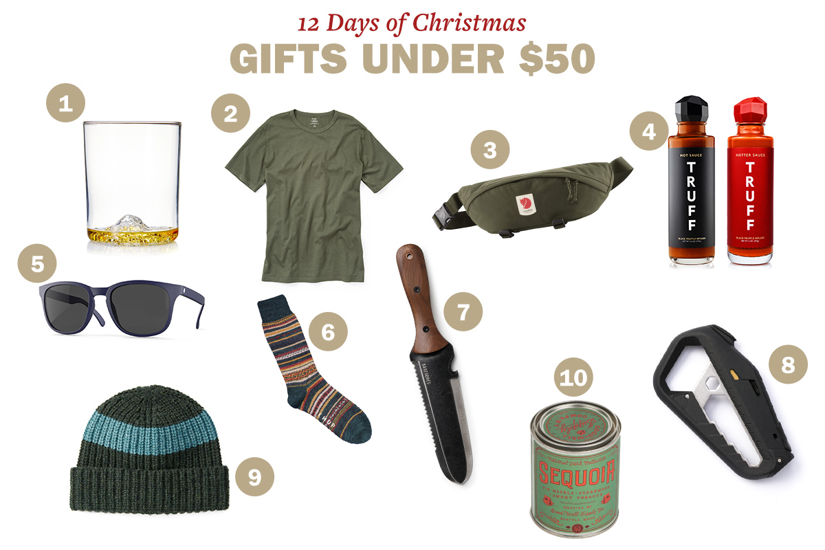 Christmas gifts like whiskey glass, shirt, hip pack, hot sauce, glasses, socks, knife, park candles, multi-tool and a beanie are displayed.
