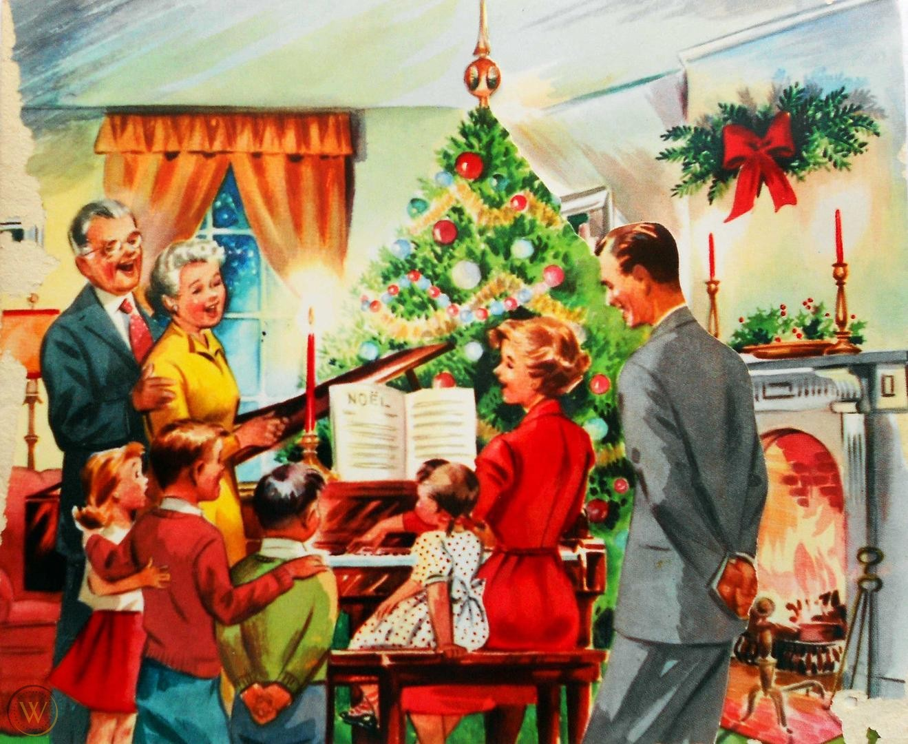 A family is singing on Christmas.