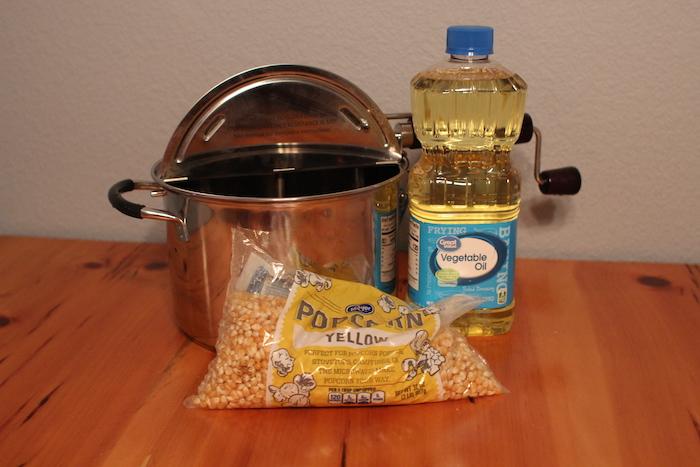 Ingredients to make Popcorn on the Stovetop.