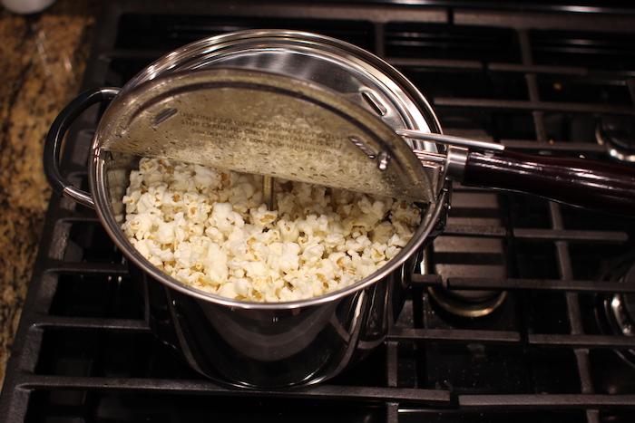 Popcorn are ready in popper.