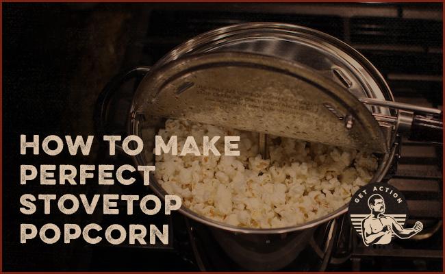 Popcorn poet in stove.