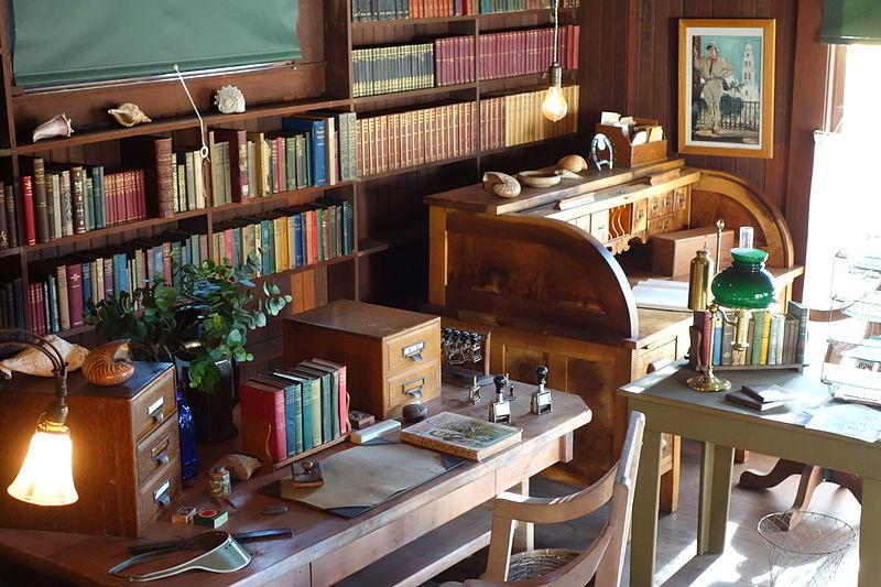 Jack London's study room having library bookshelves.