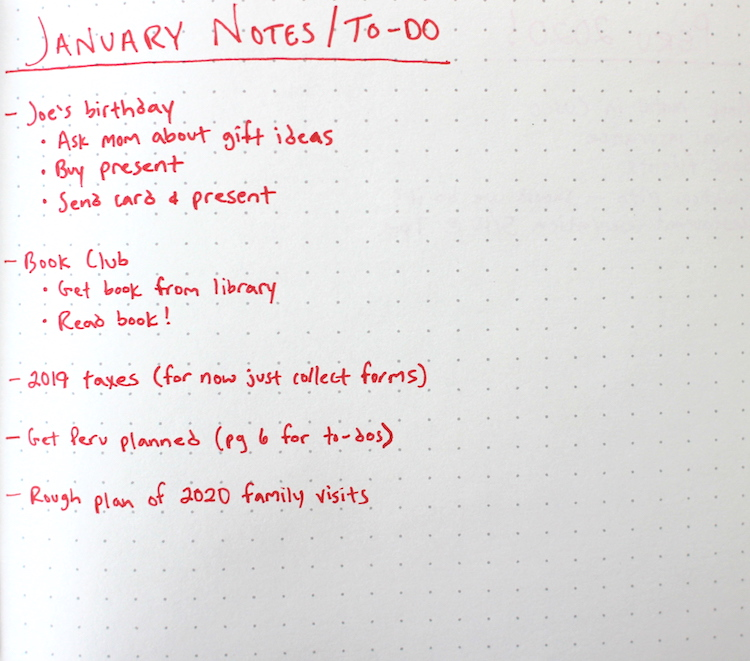 Monthly log to-dos.