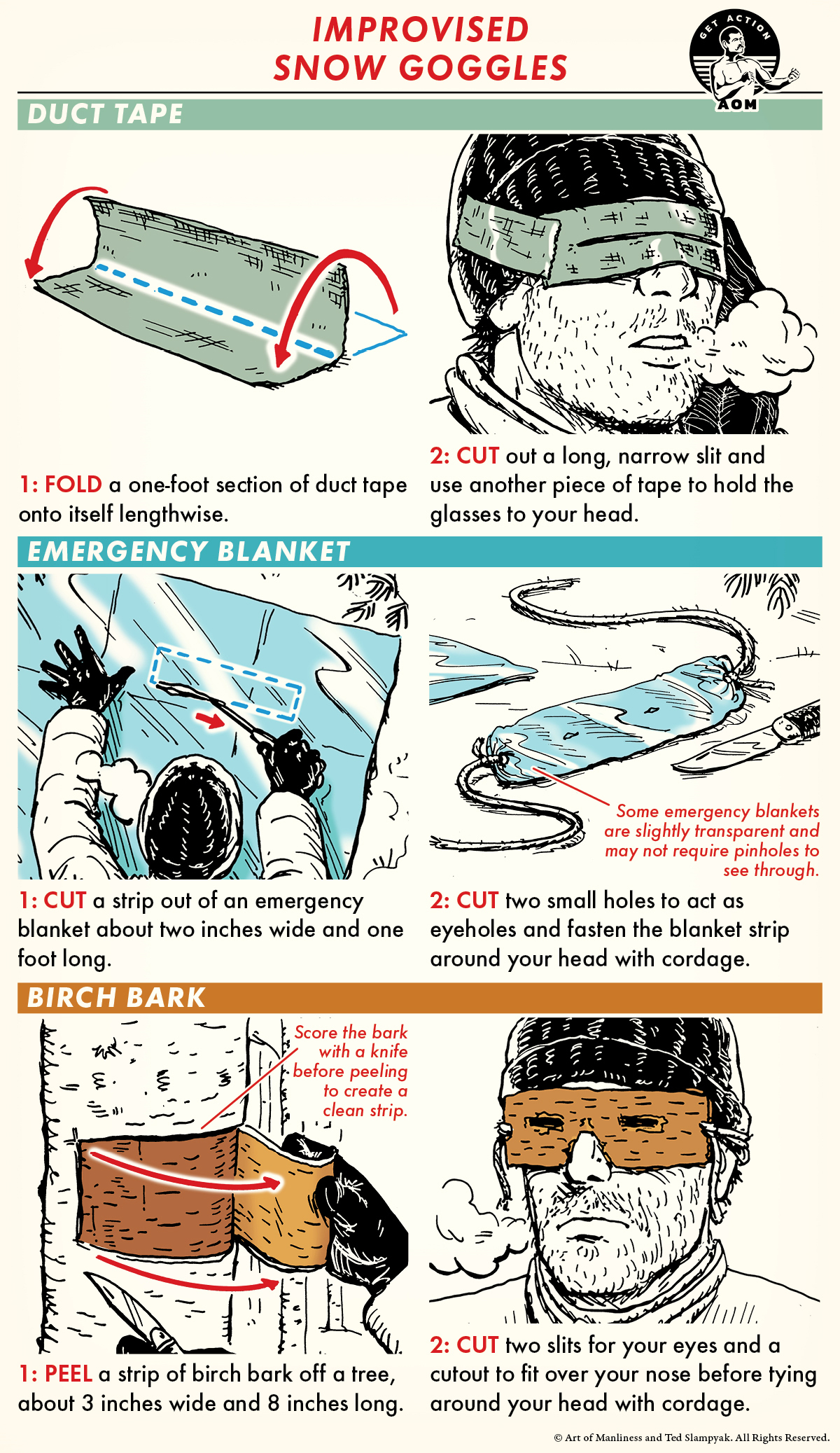 Improvised Snow Goggles comic guide.