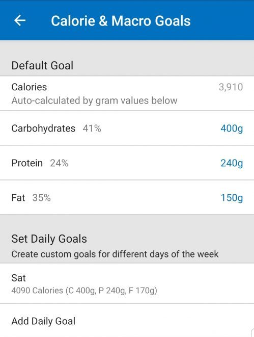 Tracking macros and setting goals.