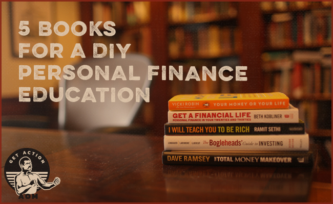 Stack of finance books in library.