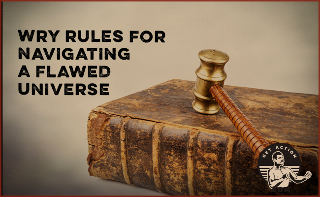 Wry Rules for Navigating a Flawed Universe poster with hammer on a book.