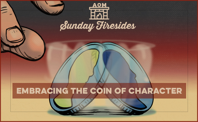 "Poster of ""Embracing The Coin Of Character"" by Sunday Firesides."