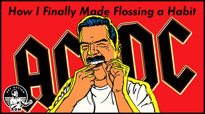 Man using Floss as a habit.