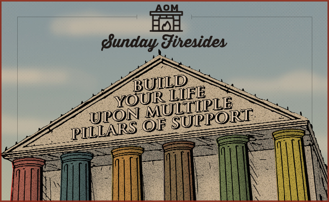 """Poster of """"Build Your Life Upon Multiple Pillars Of Support"""" by Sunday Firesides."""