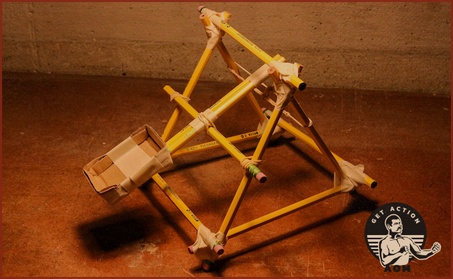 Pencil Catapult placed on ground.