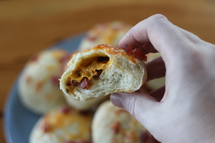 Inner-view of Cheese Bacon Rolls.