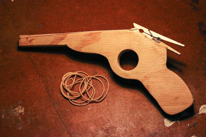 A rubber band gun.