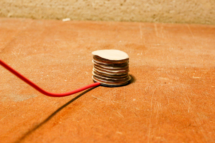 Stacking a quarter on foil.