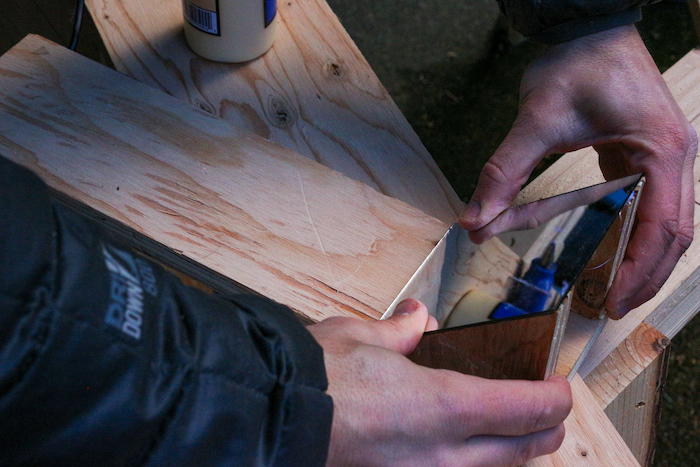 Mirror-plywood being attached to another plywood.
