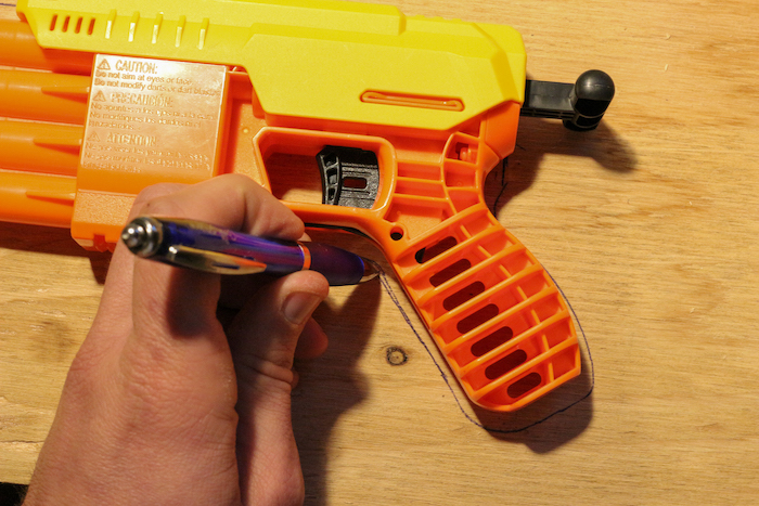 Wood, pen and gun are used for making rubber band gun.