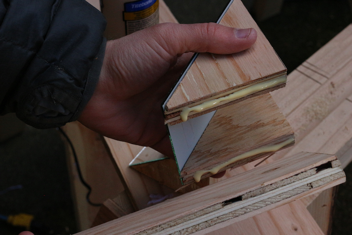 Mirror being attached to Mirror-plywood.