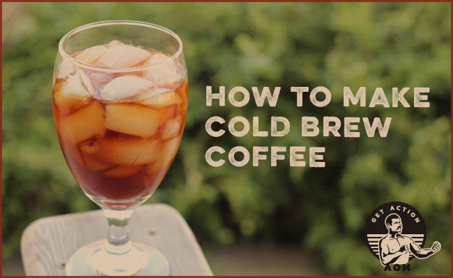 A Coffee with a label of how to make cold brew coffee.