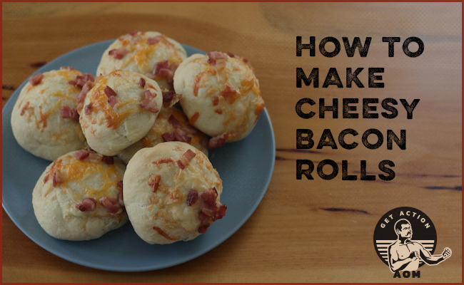 Cover page of cheesy bacon rolls served in plate.