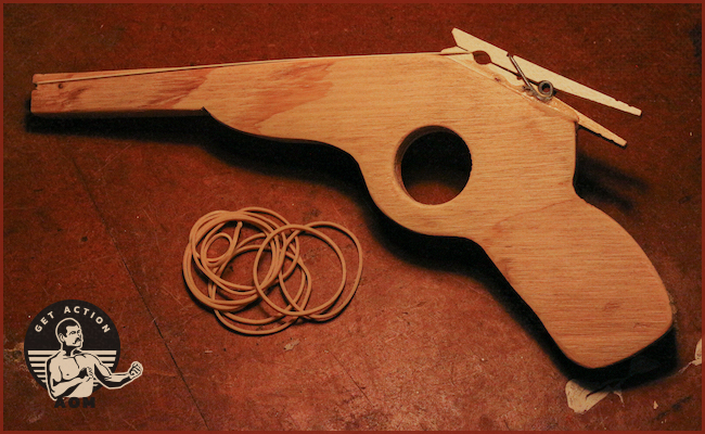 Materials like Clothespin, Rubber bands and plywood are used for rubber band gun.