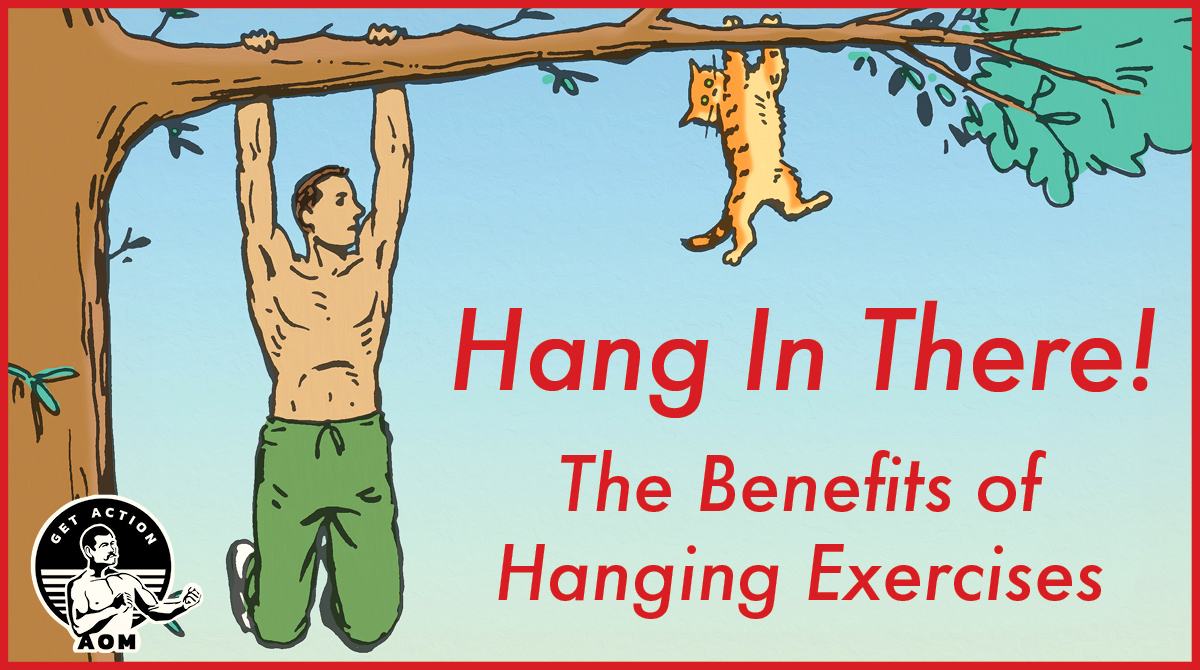 A man and cat are hanging on a tree.