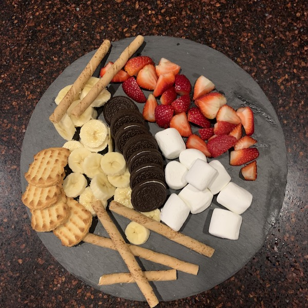 Different ingredients used in making chocolate dessert.
