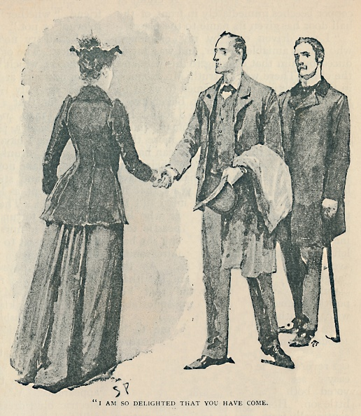 A man shaking hand with women in The Adventure of the Copper Beeches novel.