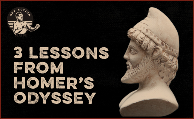 Cover of lessons from poem called homers odyssey with statue.