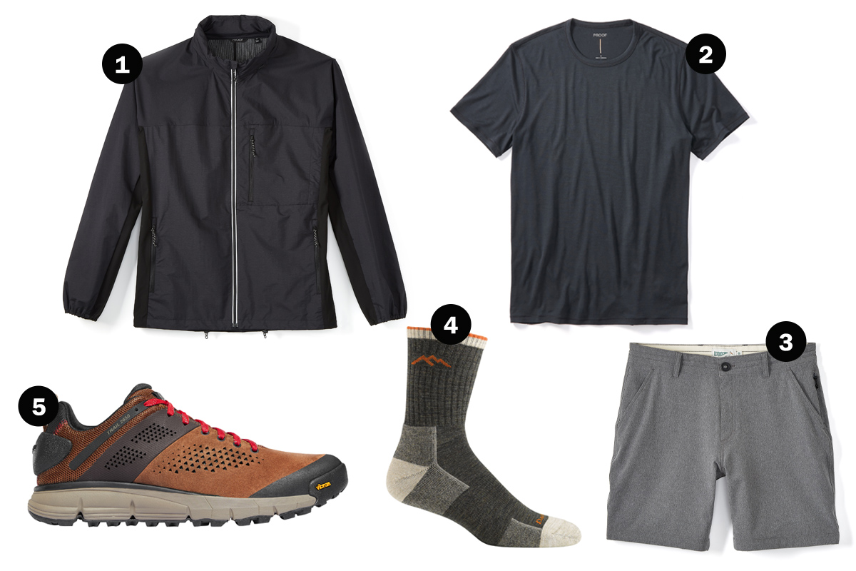 A proper dressing for hiking.