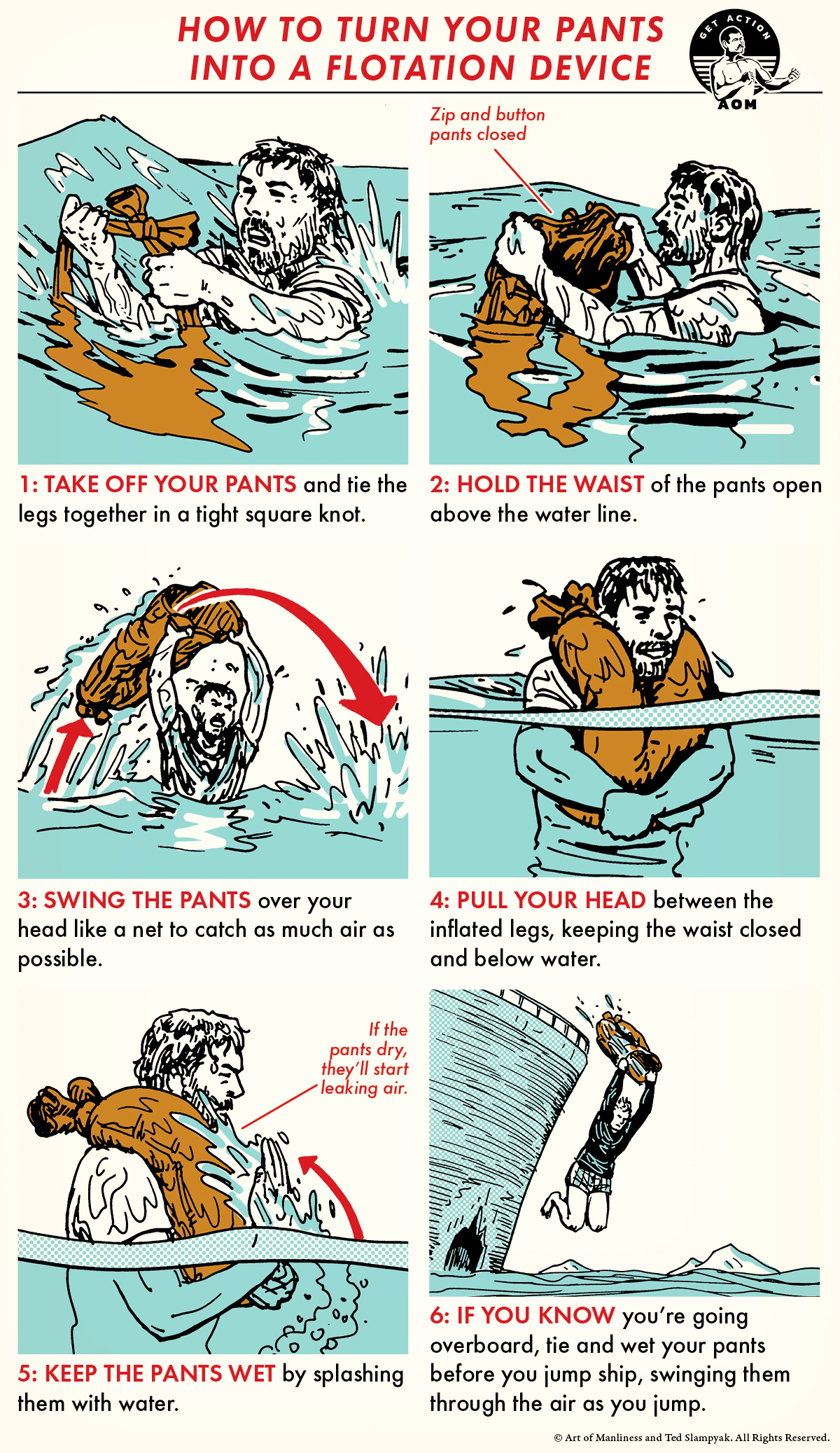 Comic guide turning pants into life jacket.