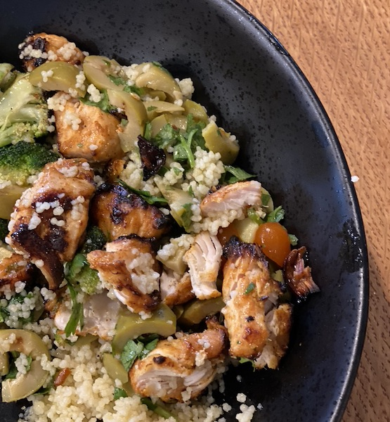 Mediterranean chopped chicken pieces served in a plate.