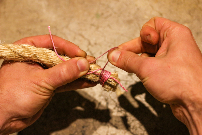 Whipping until the width of your wrap is roughly the diameter of your rope.